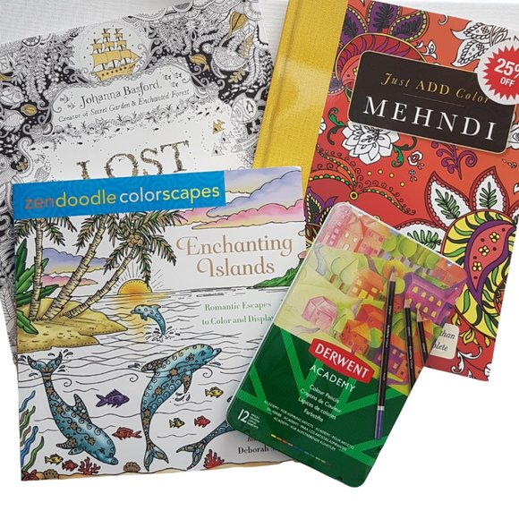 3 Colouring Books + Pencil Crayons